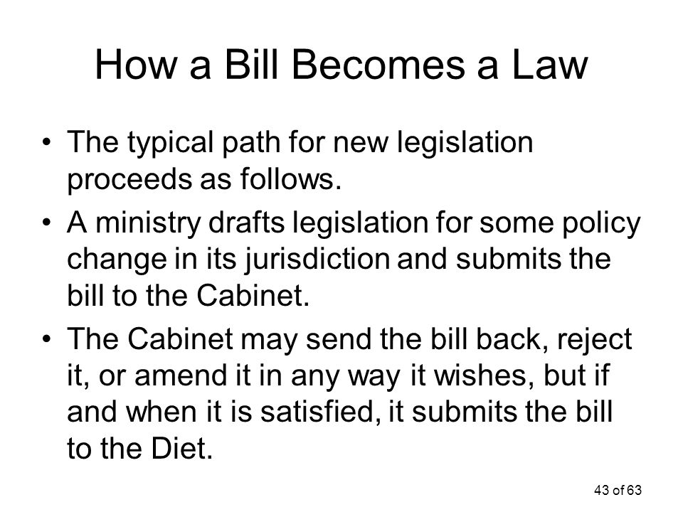 How a Bill Becomes a Law The typical path for new legislation proceeds as follows.