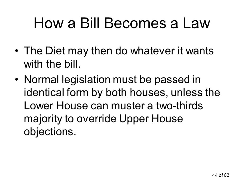 How a Bill Becomes a Law The Diet may then do whatever it wants with the bill.