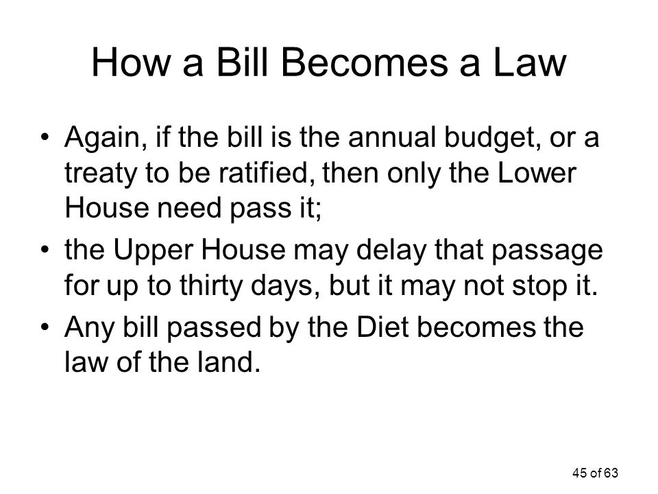 How a Bill Becomes a Law Again, if the bill is the annual budget, or a treaty to be ratified, then only the Lower House need pass it;