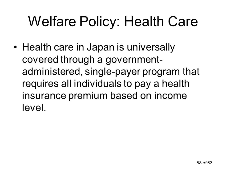 Welfare Policy: Health Care