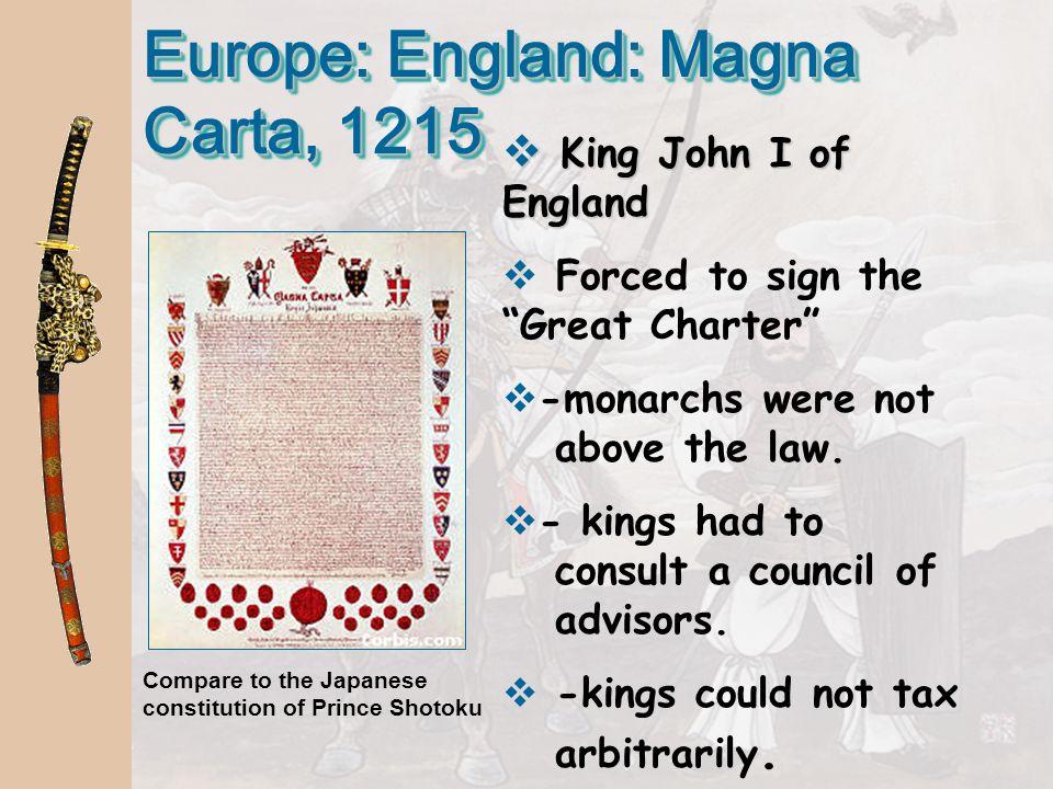 Europe: England: Magna Carta, 1215