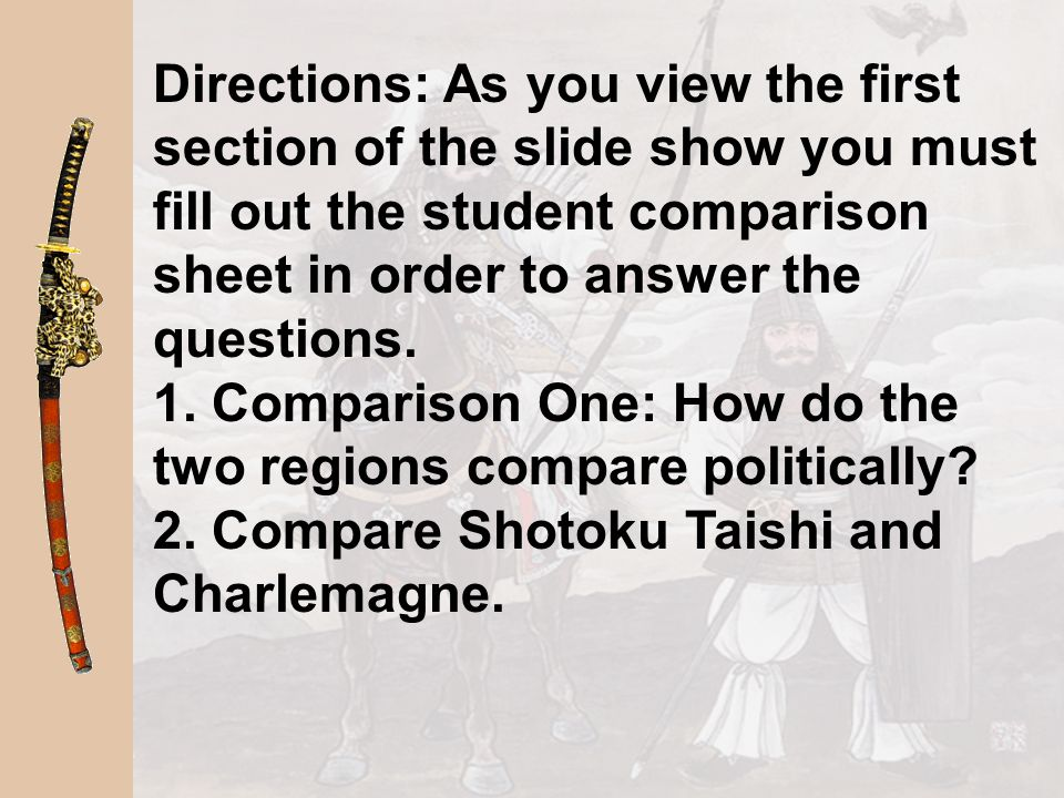Directions: As you view the first section of the slide show you must fill out the student comparison sheet in order to answer the questions.