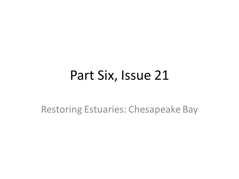 Restoring Estuaries: Chesapeake Bay