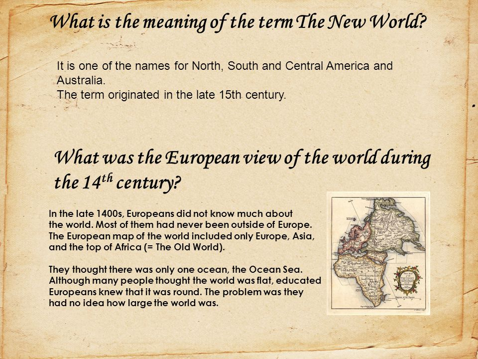 What is the meaning of the term The New World