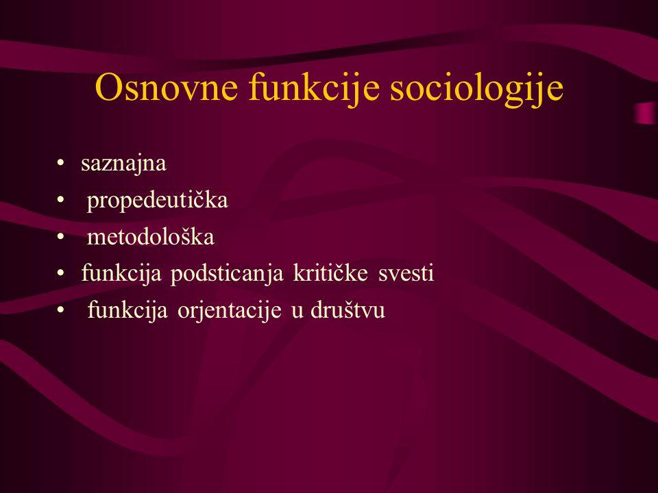 Osnovne funkcije sociologije