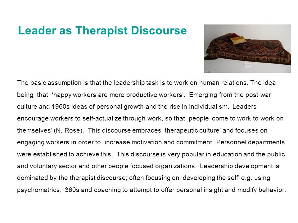 Leader as Therapist Discourse