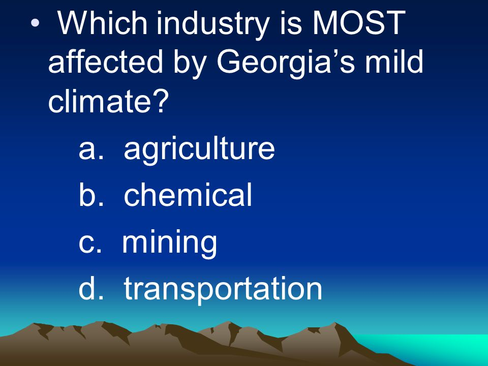 Which industry is MOST affected by Georgia's mild climate
