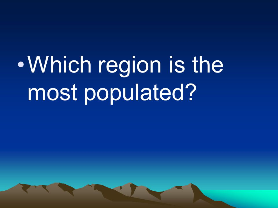 Which region is the most populated