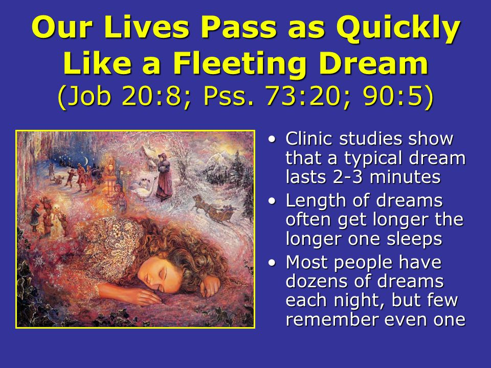 Our Lives Pass as Quickly Like a Fleeting Dream (Job 20:8; Pss