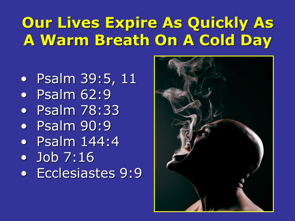 Our Lives Expire As Quickly As A Warm Breath On A Cold Day