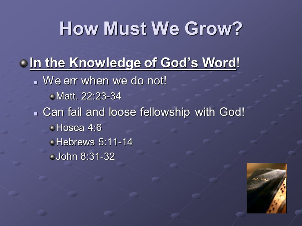 How Must We Grow In the Knowledge of God's Word!