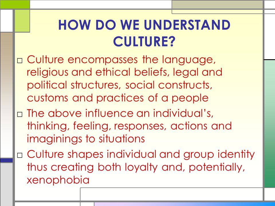 HOW DO WE UNDERSTAND CULTURE