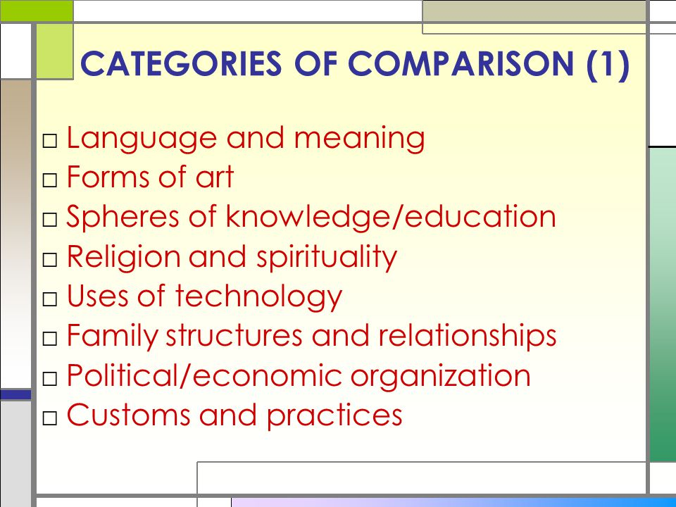 CATEGORIES OF COMPARISON (1)