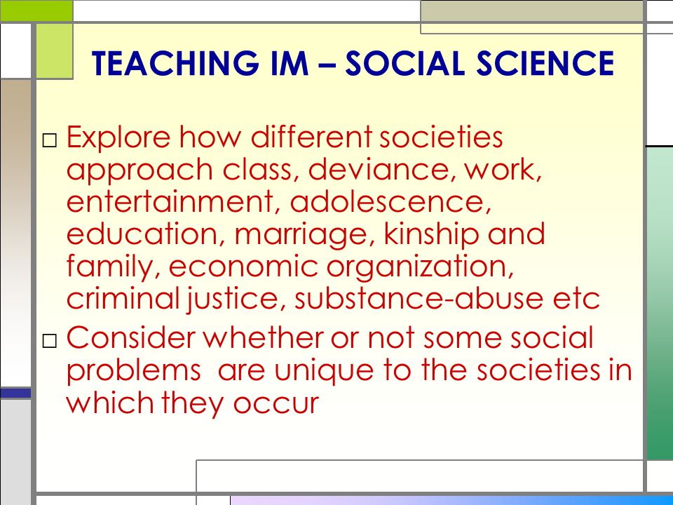 TEACHING IM – SOCIAL SCIENCE