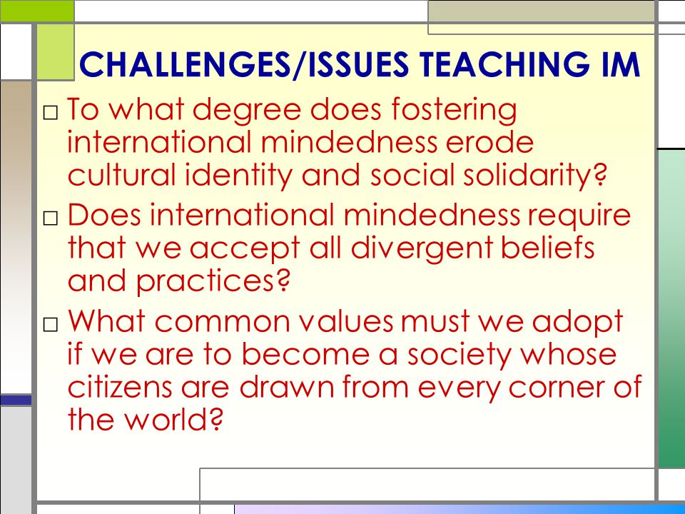 CHALLENGES/ISSUES TEACHING IM