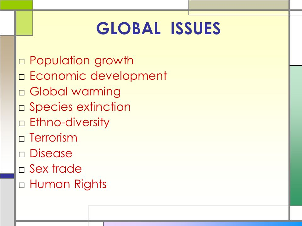 GLOBAL ISSUES Population growth Economic development Global warming