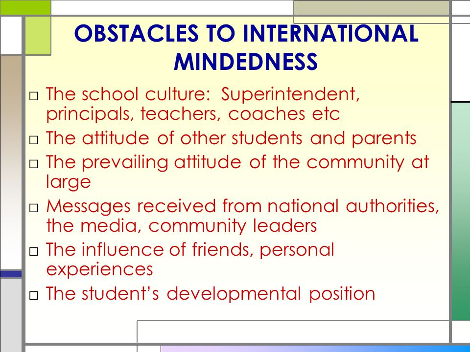 OBSTACLES TO INTERNATIONAL MINDEDNESS