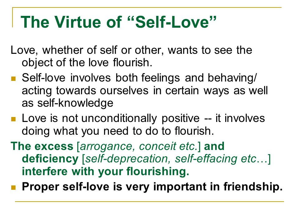 The Virtue of Self-Love
