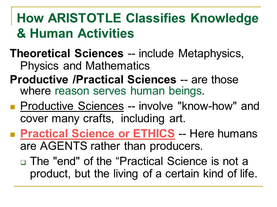 How ARISTOTLE Classifies Knowledge & Human Activities