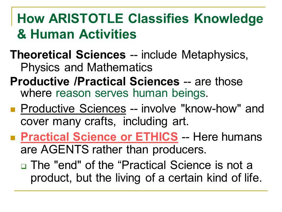 How ARISTOTLE Classifies Knowledge & Human Activities