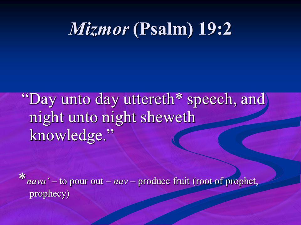 Mizmor (Psalm) 19:2 Day unto day uttereth* speech, and night unto night sheweth knowledge.