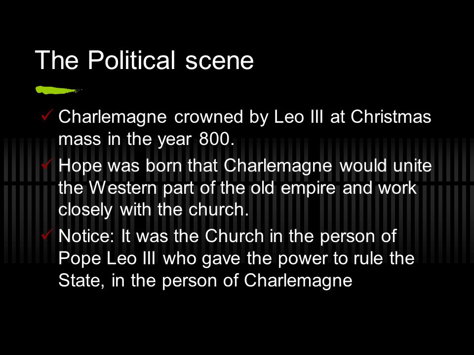 The Political scene Charlemagne crowned by Leo III at Christmas mass in the year 800.