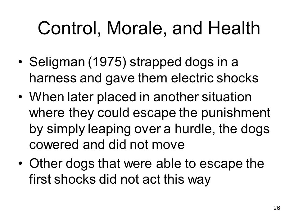 Control, Morale, and Health
