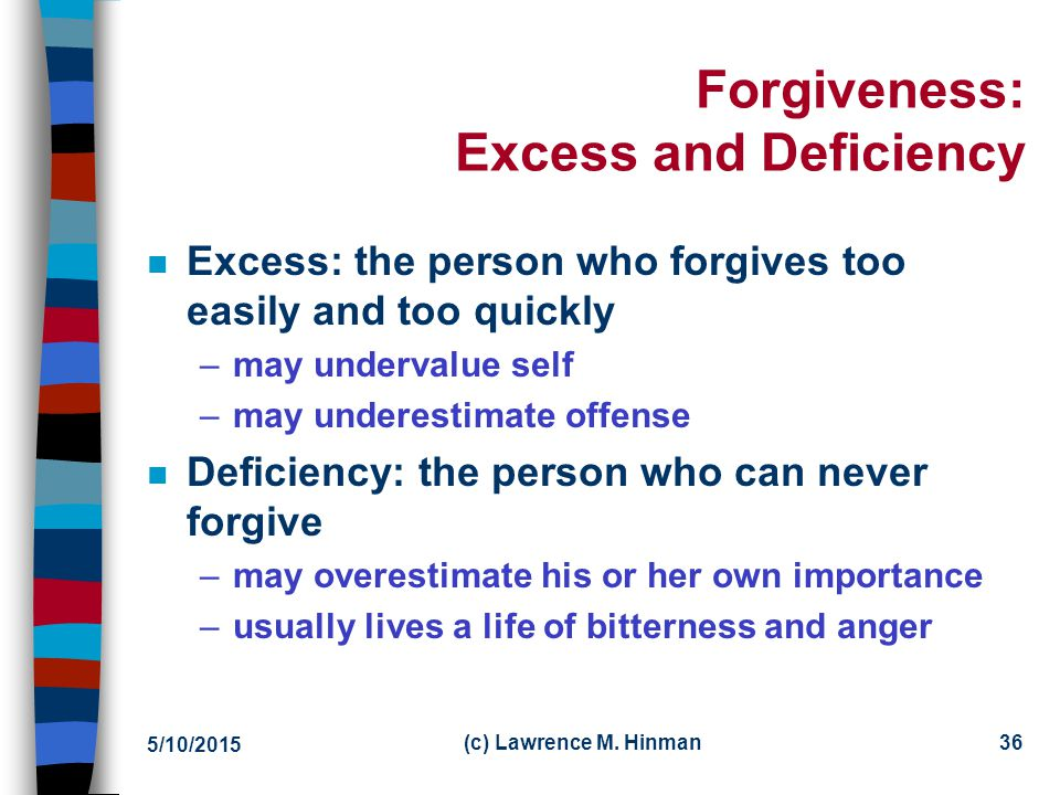 Forgiveness: Excess and Deficiency