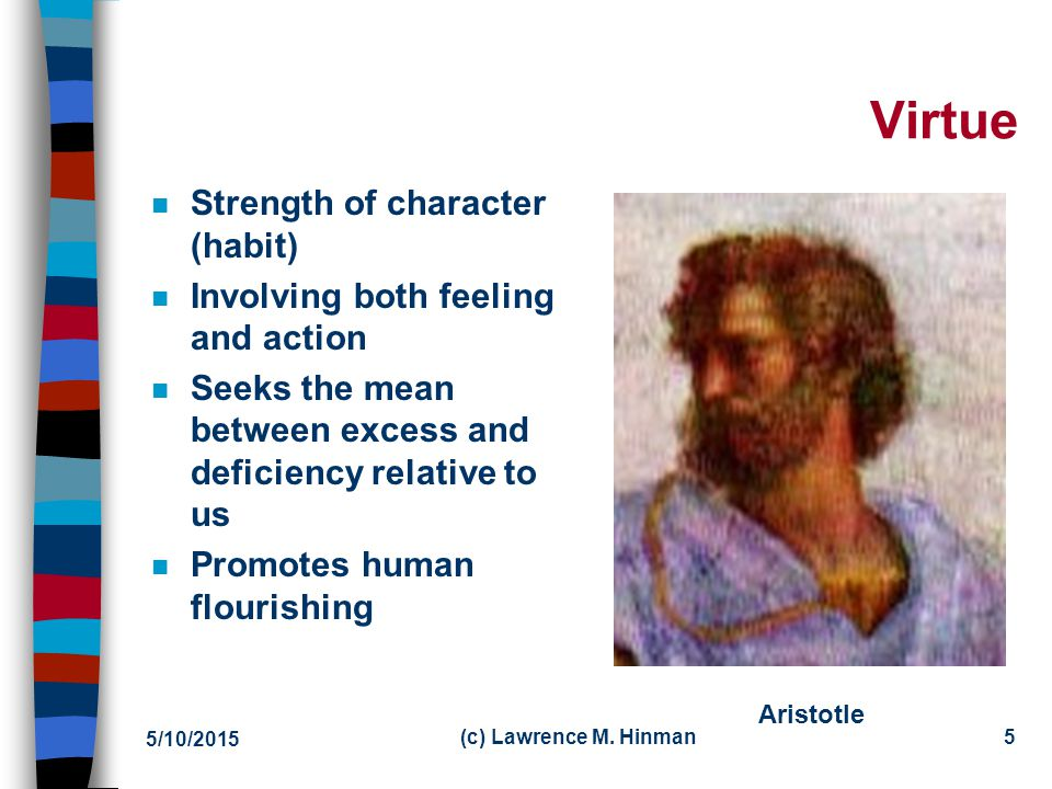 Virtue Strength of character (habit) Involving both feeling and action
