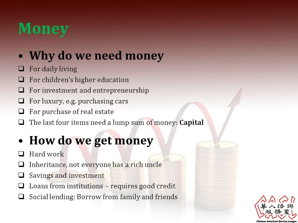 Money Why do we need money How do we get money For daily living
