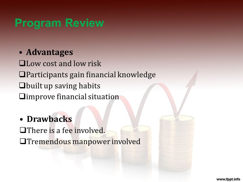 Program Review Advantages Drawbacks Low cost and low risk