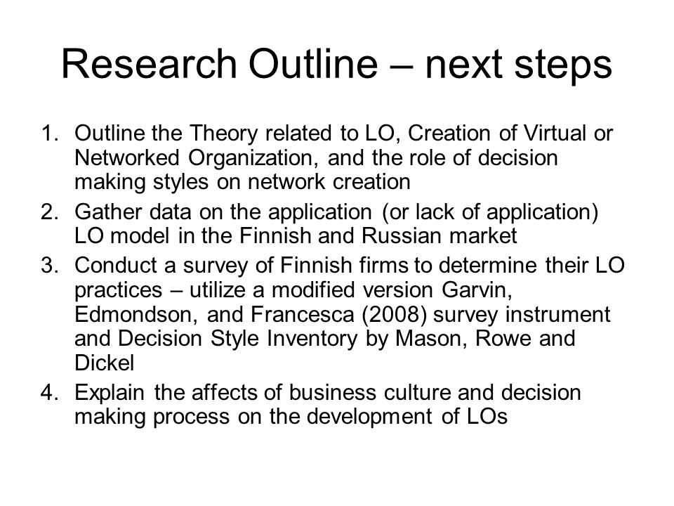 Research Outline – next steps