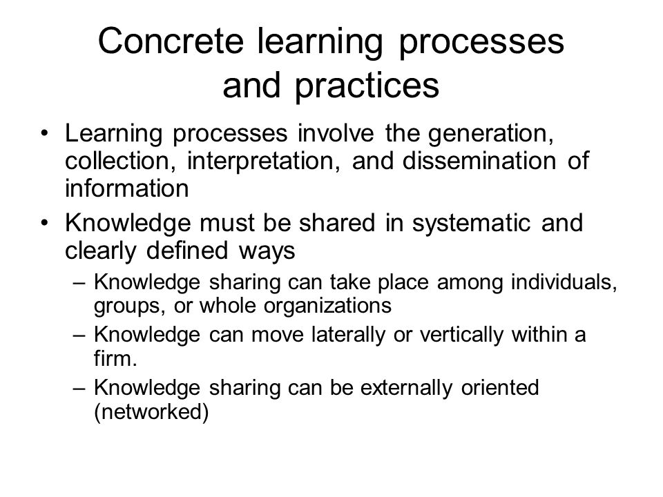 Concrete learning processes and practices