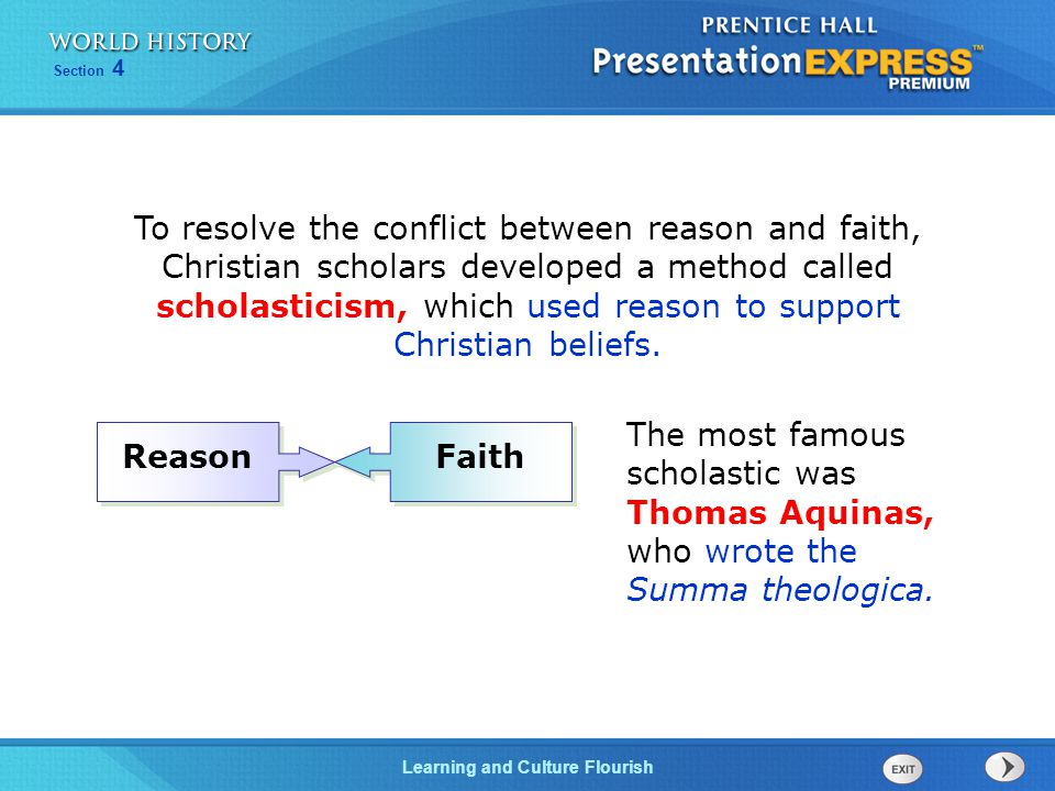 To resolve the conflict between reason and faith, Christian scholars developed a method called scholasticism, which used reason to support Christian beliefs.