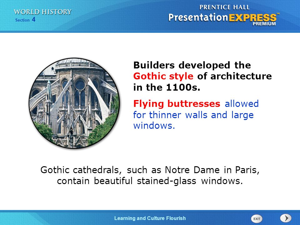 Builders developed the Gothic style of architecture in the 1100s.