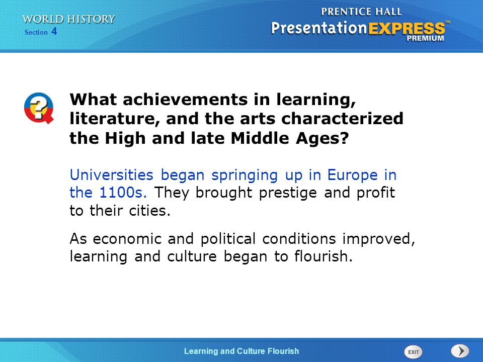 What achievements in learning, literature, and the arts characterized the High and late Middle Ages