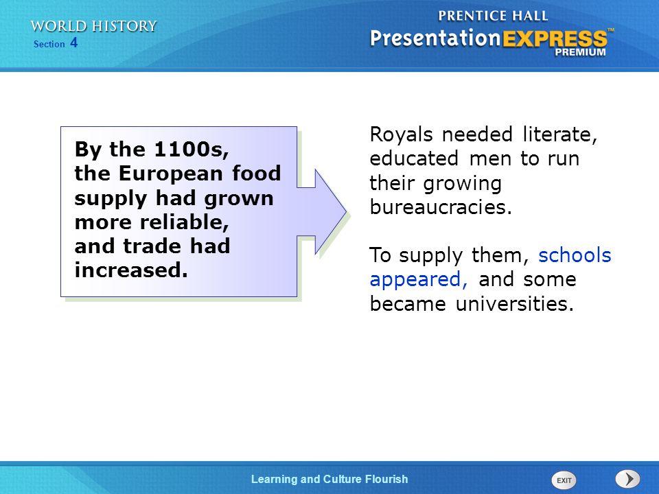Royals needed literate, educated men to run their growing bureaucracies.