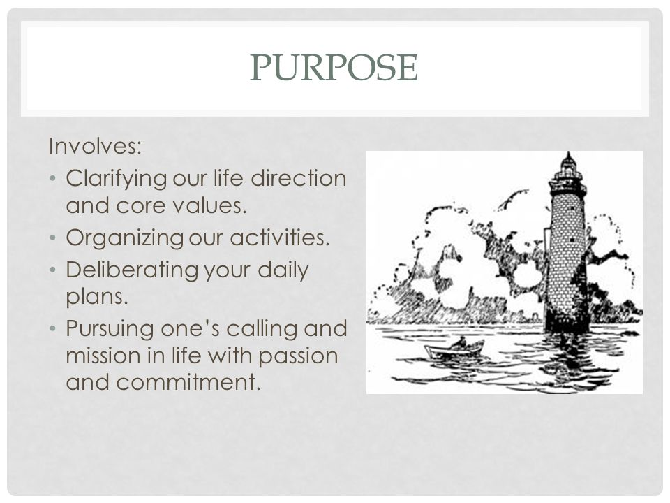 Purpose Involves: Clarifying our life direction and core values.