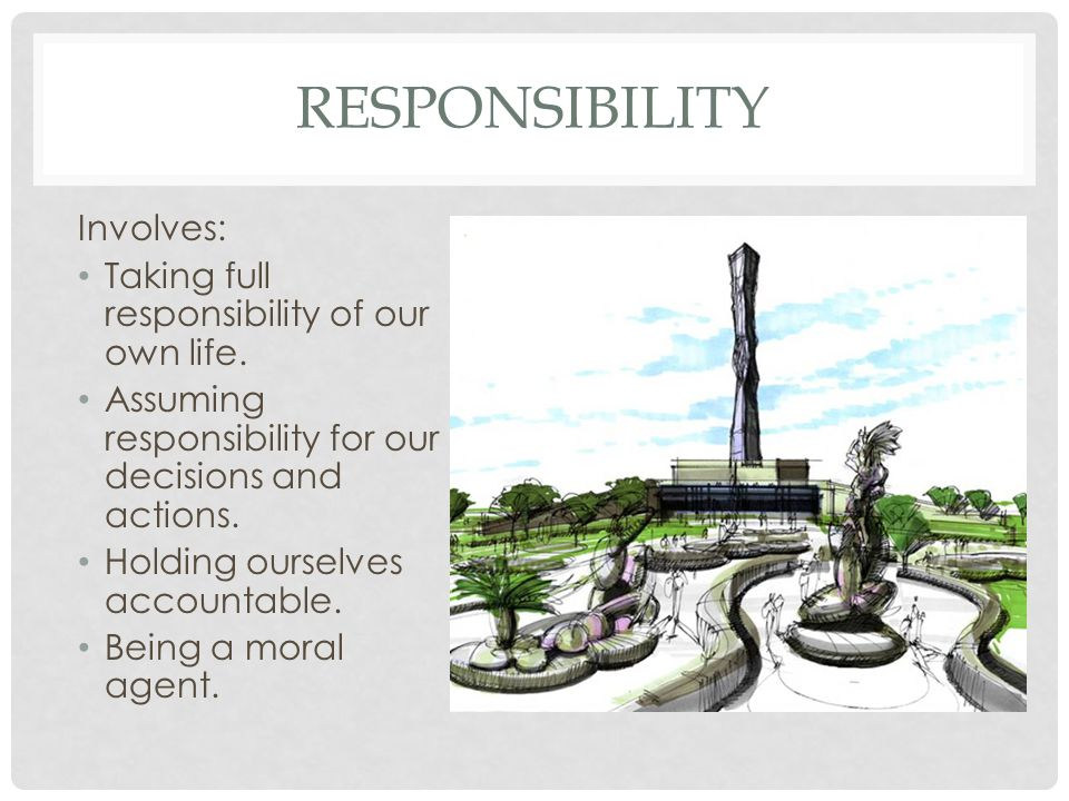 Responsibility Involves: Taking full responsibility of our own life.