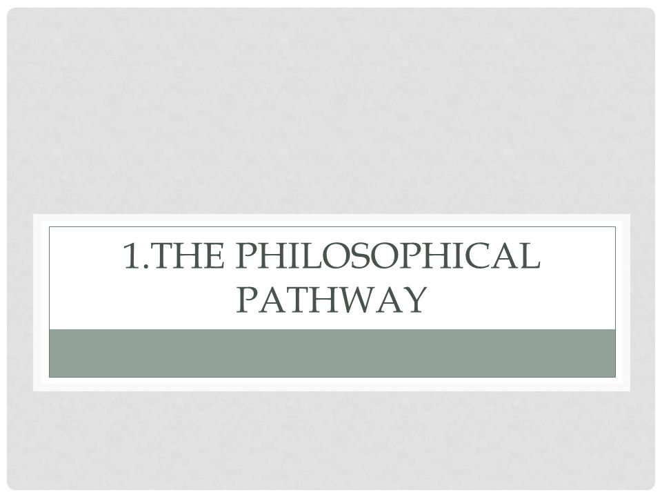 1.The Philosophical Pathway