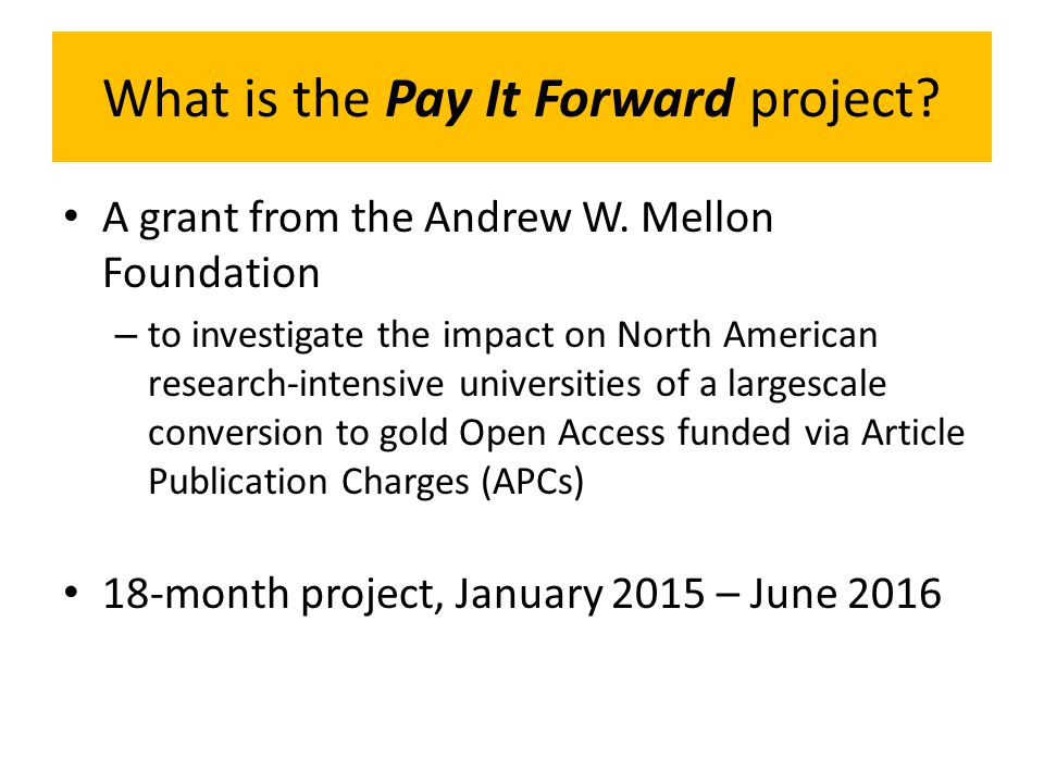 What is the Pay It Forward project