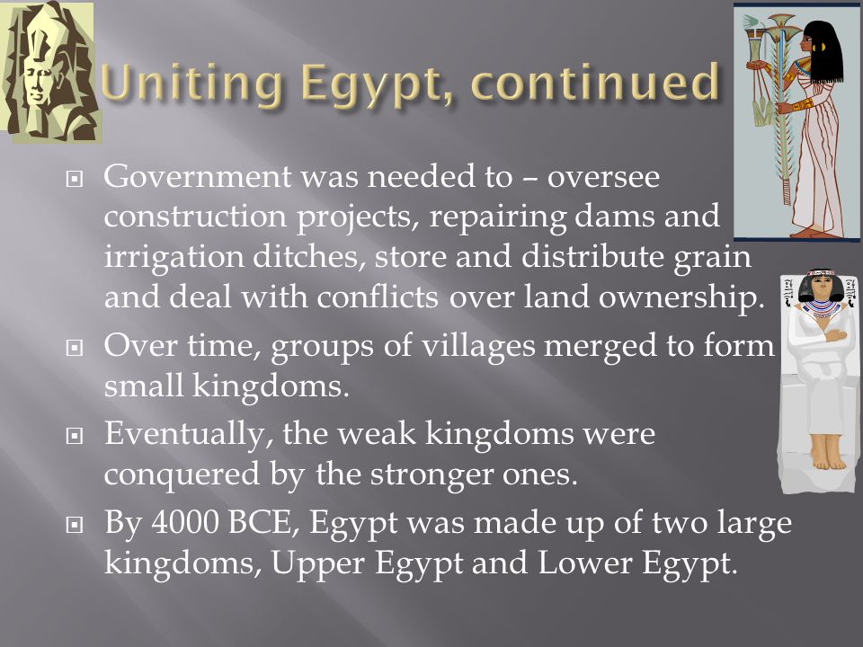 Uniting Egypt, continued