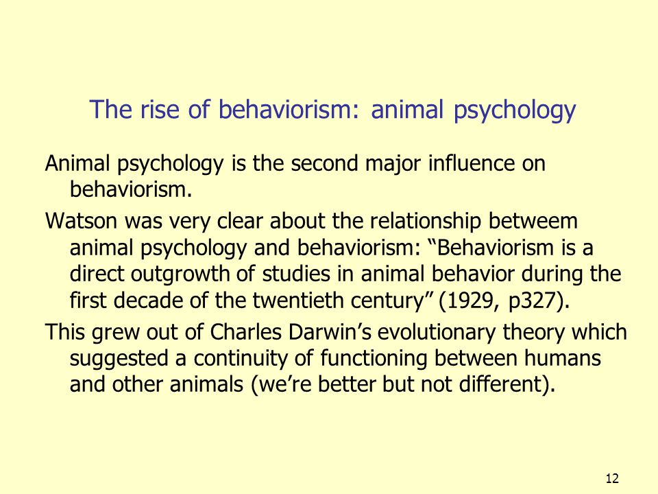 The rise of behaviorism: animal psychology