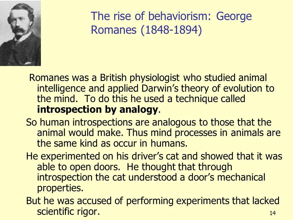 The rise of behaviorism: George Romanes (1848-1894)