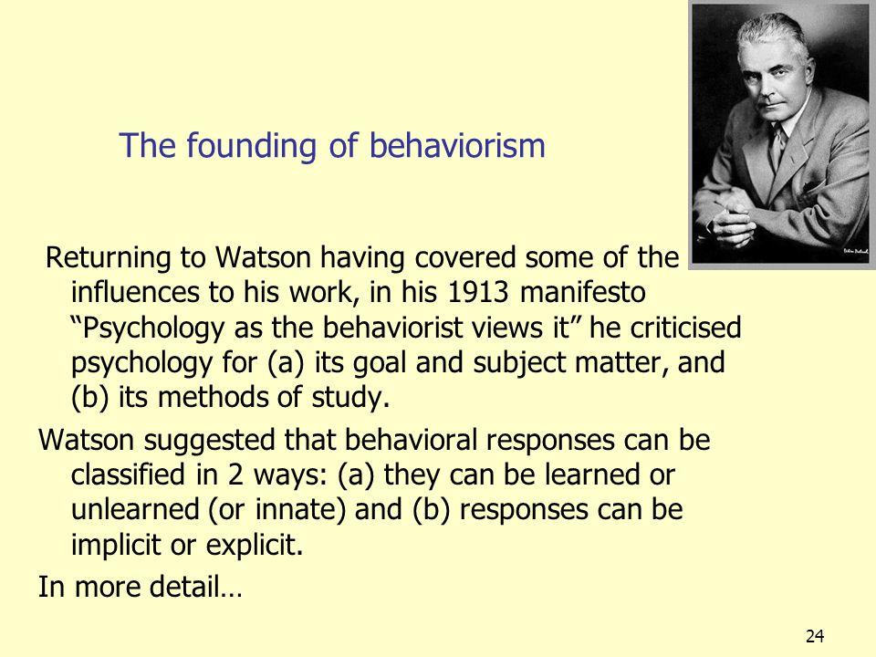 The founding of behaviorism