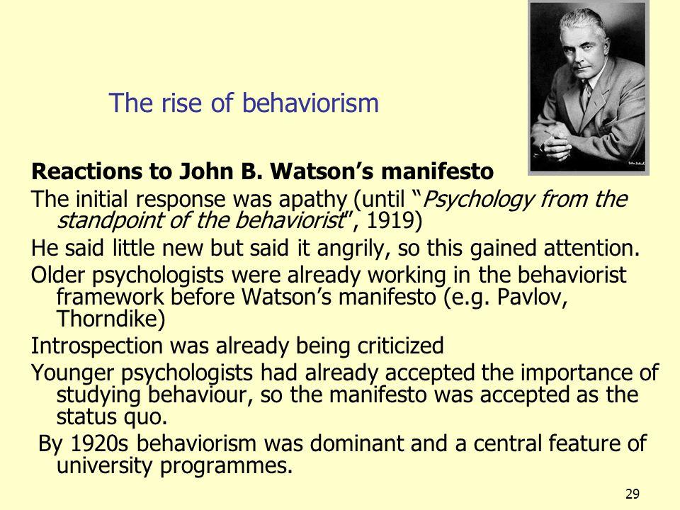The rise of behaviorism