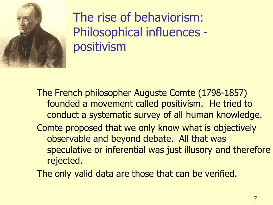 The rise of behaviorism: Philosophical influences - positivism