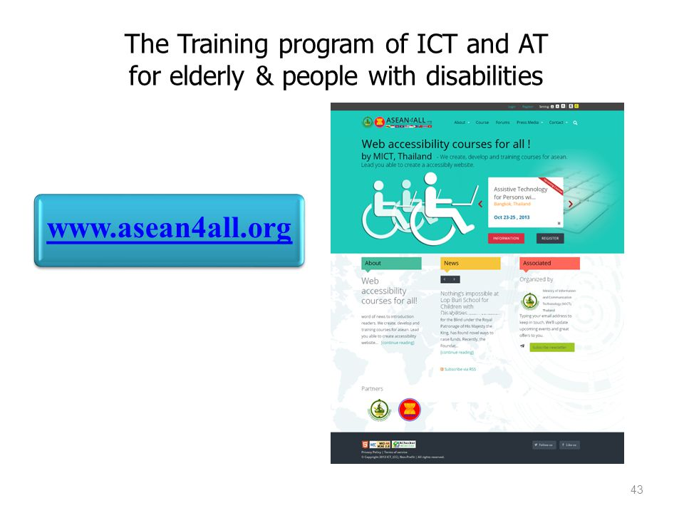 The Training program of ICT and AT for elderly & people with disabilities