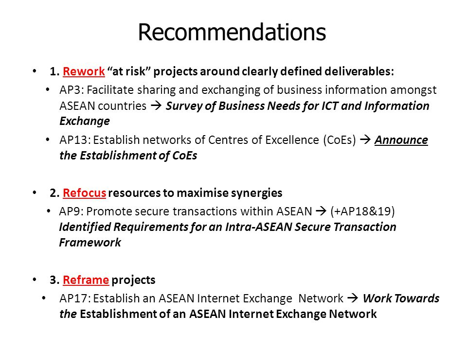Recommendations 1. Rework at risk projects around clearly defined deliverables: