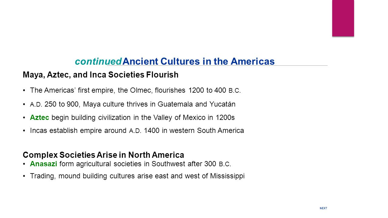 continued Ancient Cultures in the Americas